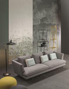 Sofa Lars / Pouf Hollywood / Shelving units April, June by Bonaldo www.bonaldo.it #sofa #update #bonaldo #madeinitaly #interiordesign #design #interior #comfortable #comfort #new #italian #orange #fabric #modern #home #collection #living #colorful #comfort #grey #yellow