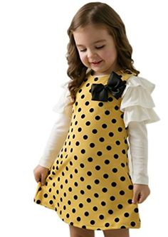 Theplus Girls Bowknot Polka Dots Ruffle Long Sleeve Dress Tops