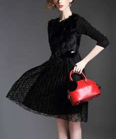 Look at this Alaroo Black Faux Fur-Bodice Belted Fit & Flare Dress on #zulily today!
