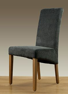 Scroll Back Charcoal Plain Fabric Dining Chair with Oak Legs - Oak Furniture Land