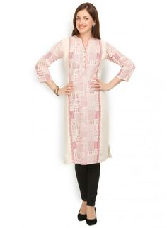 Off White and Red Cotton Straight Cut Kurti
