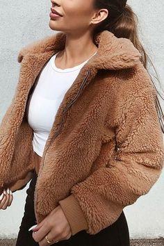 6bf1c64815c Women Camel Faux Fur Lapel Zipper Up Casual Teddy Coat - M Winterjacken  Frauen, Mäntel