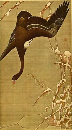 Wild Geese on the surface of the Ice. One of Colorful Realm series of Japanese hanging scrolls. Ito Jakuchu, Formerly dedicated to Shōkoku-ji temple in Kyoto by the painter. Goose Tattoo, Art Chinois, Japan Painting, Ink Painting, Epic Art, China Art, Korean Art, Japan Art, Tokyo Japan