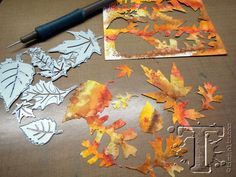 "Tim Holtz distressed inks, rubber stamps & sizzix dies ""Autumn leaves"" techniques"