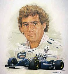 Ayrton Senna: Born in São Paulo, Senna got his first kart at the age of four. When he was he started kart competitions, and became kart champion four years later. His driving talents didn't go unnoticed, and he enjoyed a steady rise in his career. Formula 1, Sport Cars, Race Cars, Motor Sport, Grand Prix, Caricatures, Foto Macro, Types Of Races, Gilles Villeneuve