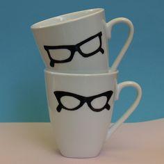 Hipster Glasses Mugs.  via Etsy.