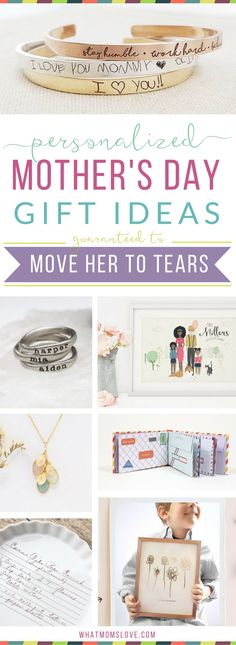 Unique personalized gift ideas for Mother's Day | Meaningful custom gifts for mom, nana or grandma from you, your kids (toddlers to teens) or grandkids. Buy her something she'll fall in love with this year - ideas for custom jewelry, portraits, kitchen, h