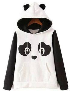 Casual Cute Panda Mujeres Hoodies