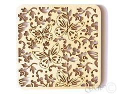 Laser Cut Wood Coasters. Birch Coaster. Butterfly Style by GreenWoodLT on Etsy https://www.etsy.com/listing/191121966/laser-cut-wood-coasters-birch-coaster