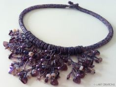 Necklace made with Czech Beads. Using ladder stitch, ndebele stitch and fringe techniques
