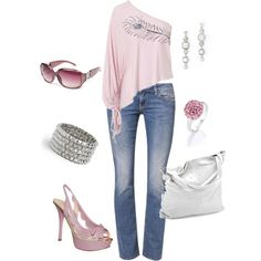 jeans and soft pink by missyalexandra on Polyvore