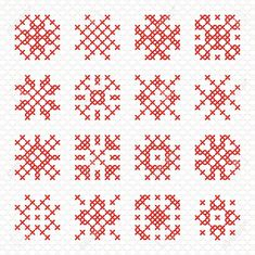 Illustration of Set of cross stitching element for embroidery design. Decorative blank for frames and patterns. vector art, clipart and stock vectors. Cross Stitch Cards, Cross Stitching, Cross Stitch Embroidery, Cross Stitch Patterns, Stitching Patterns, Embroidery Designs, Marianne Design, Banner Printing, Christmas Cross