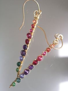 Rainbow Sticks...Sapphire Tourmaline Red Spinel by bellajewelsII, $60.00