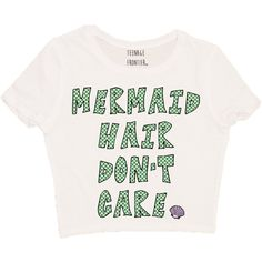 Mermaid Hair Don't Care Short-Sleeved Crop Top ($16) ❤ liked on Polyvore featuring tops, t-shirts, shirts, want, silver, women's clothing, crop shirts, short sleeve tee, short sleeve crop top and white crop top