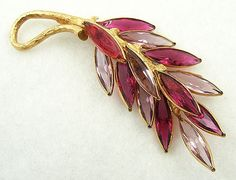 Coro Signed Gold and Fuchsia Flower Brooch Fuchsia Rhinestone Center Enameled Leaves Vintage