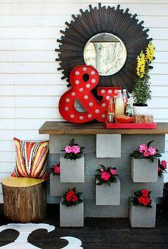 Flowers on my cinder block.