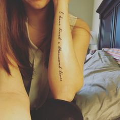"""I have lived a thousand lives..."" my literary quote arm tattoo"