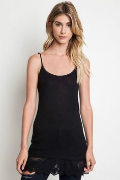 5ad77b82659136 Basic Tank Top with Lace Detail in Black. Lace DetailLace TrimCute ...