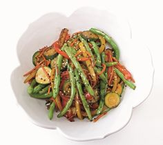 This very veggie stir-fry recipe contains green beans, bell peppers, zucchini and carrots (or swap other seasonal veggies). Dairy-free, gluten-free, vegan.