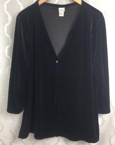 Eileen Fisher Black Velvet Single Button Open Front Cardigan Jacket Size Large L #EileenFisher #Cardigan