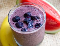 Super Energy Smoothie  If you want to start off your day with a big boost of energy, try starting with this smoothie. It's loaded with healthy fruits and veggies like watermelon, which helps dilate blood vessels to promote blood flow. Also, it has coconut water – one of the most hydrating liquids out there. The best part is this recipe yields a big batch, so you can make it once, freeze it, and drink it all week long