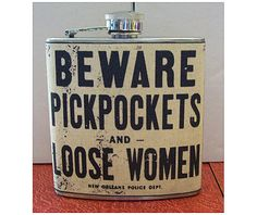 Beware pickpockets flask retro vintage new by buckaroosmercantile, $18.95