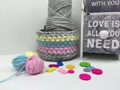 Häkeln: Korb mit 2 Garnen - Textilgarn und Baumwolle 500-Abo-Special