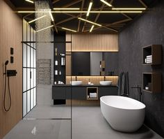 modern interior design bathroom tub wood shower cabin ceiling lighting Source by myriambouzioukh Bad Inspiration, Bathroom Inspiration, Bathroom Sets, Small Bathroom, Bathroom Styling, Bathroom Lighting, Ceiling Lighting, Interior Lighting, Toilette Design