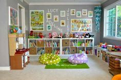 We have this big beautiful formal living room kids' playroom in our house. We have this big beautiful formal living room kids' playroom in our house. Immediatly after we moved in, I found this great picture of a family media Playroom Design, Playroom Decor, Kids Decor, Playroom Ideas, Blue Playroom, Wall Decor, Playroom Curtains, Playroom Layout, Living Room Playroom