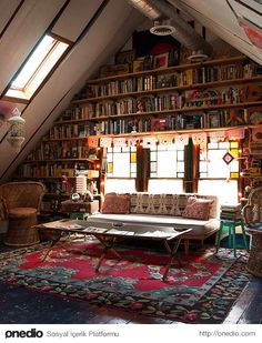 20 Creative Attic Library For Function Room If your house happen to have attic, then you are lucky. The attic space as you get the added bonus of extra mileage to move upwards Attic Library, Dream Library, Library Home, Library Wall, Library Bedroom, Cozy Library, Beautiful Library, Small Home Libraries, Future Library