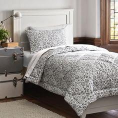 Damask Essential Value Bedding Set, Light Gray