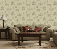 Buy University of Oxford Estate at Wallpaper Trail. FREE UK P&P on all University of Oxford Archives Collection 1 wallpapers. Wallpaper Samples, Of Wallpaper, Pattern Wallpaper, Kitchen Wallpaper, Love Seat, Couch, Pillows, Architecture, Illustration