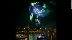 New Year's fireworks illuminate the Rhine River is Basel, Switzerland Wish I'd been there for New Year's!