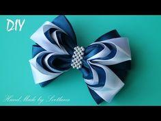 Простой бантик из ленты Канзаши Мастер класс DIY Simple ribbon bow Kanzashi Laço de Cetim - YouTube