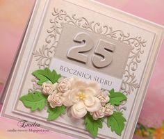 25 rocznica ślubu/Wedding anniversary card Wedding Anniversary Cards, Big Shot, Special Day, Birthday Cards, Frame, Diy, Marriage Anniversary Cards, Bday Cards, Wedding Anniversary Greeting Cards
