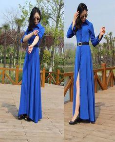 New Style Slim Floor Length Button Long Dress Women Long Sleeve Fashion Brief Black Dresses Muslim Ladies