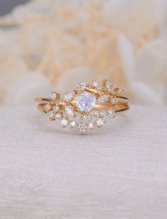 Vintage moonstone woman rose gold Diamond Cluster ring Unique engagement ring leaf wedding women Bridal Promise Anniversary Gift for her Vintage moonstone woman rose gold ring Beautiful Wedding Rings, Wedding Rings Vintage, Diamond Wedding Rings, Bridal Rings, Vintage Engagement Rings, Wedding Jewelry, Gold Jewelry, Jewellery Box, Jewellery Shops