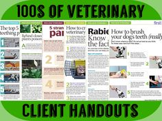 Get hundreds of veterinary client handouts that you can print and distribute in your practice - topics such as dentistry, behavior, wellness, nutrition, parasitology, and more. - dvm360 #veterinary