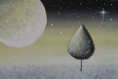 Moonlight Snowfall in Lemon Yellow  Original by VioletHouseCrafts, $20.00