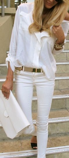 All white outfit, gold belt, summer outfits, what to wear on vacation, white button down shirt