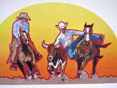 1975 Rodeo Lithograph - STEER WRESTLER -  Nat'l Finals Rodeo Hesston Corp NOS #WesternMotif