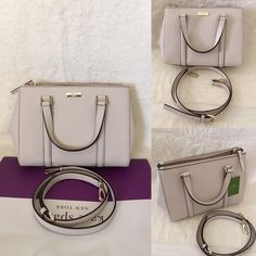 """ONLY 1 Left⚜Kate Spade⚜Newbury Lane Loden Small ✨Brand New With Tag and Bag, Guarantee Authentic✨Also available in Black and pink•pls check out my closet if interested  ONLY $165 ON VIINTED or MERCARII!!  Size: Small•color: pebble Details: Satchel with snap closure and an adjustable, removable strap Dual interior slide pockets, two zipper, compartments, and interior zipper pocket Gold Kate Spade New York signature 8.2x10.9x4.7  drop length 4.3"""" handle  14 karat light gold hardware kate spade…"""