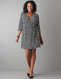 Plus Size Houndstooth Wrap Dress by Lane Bryant | Lane Bryant