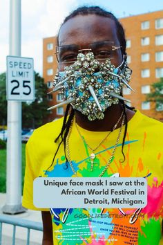 This face mask design was really unique. The creator placed spikes and other embellishments on it! Photo taken at the 2021 African World Festival in Detroit, Michigan. Detroit Art, Detroit Michigan, World Festival, Museum Of Contemporary Art, Art Gallery, African, Culture, Spikes, Mask Design