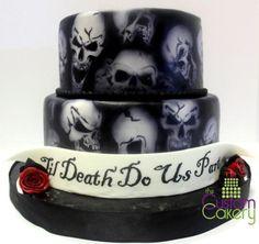 Black Airbrushed Skull Wedding Cake