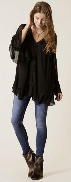 Minimalist Style Simple Fashion : Gimmicks Chiffon Tunic Blouse | Buckle