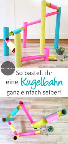 Kugelbahn aus Papierrollen selber basteln Eine tolle DIY Idee für Kinder Anlei… Make your own ball rolling out of paper rolls Make a great DIY idea for kids Instructions with lots of photos Murmelbahn itself Upcycled Crafts, Diy Crafts To Sell, Easy Crafts, Crafts For Kids, Upcycled Clothing, Kids Diy, Easy Diy, Make Your Own, Make It Yourself