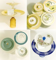 Here's another look of what you can come up with second hand plates, candlesticks, and goblets. These cake stands can match your wedding's color scheme and decorate your dessert area beautifully. This was found on http://greenweddingshoes.com/vintage-cake-stands/.