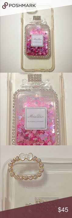 Transparent Miss Dior iPhone 6/6s Case Brand new! Never used! Miss Dior perfume bling case with pink heart sequins can fit iPhones 6/6s. Offers are welcome! Accessories Phone Cases
