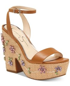 bd7fbc9a9cc Jessica Simpson Cressia Wicker Wedge Sandals - Brown 8.5M Sexy High Heels,  Brown Wedge